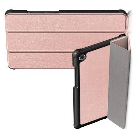Двухсторонний Чехол Книжка для планшета Samsung Galaxy Tab A7 10.4 2020 SM-T505 Искусственно Кожаный с Подставкой Розовое Золото