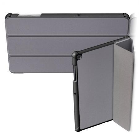 Двухсторонний Чехол Книжка для планшета Samsung Galaxy Tab S5e SM-T720 SM-T725 Искусственно Кожаный с Подставкой Серый