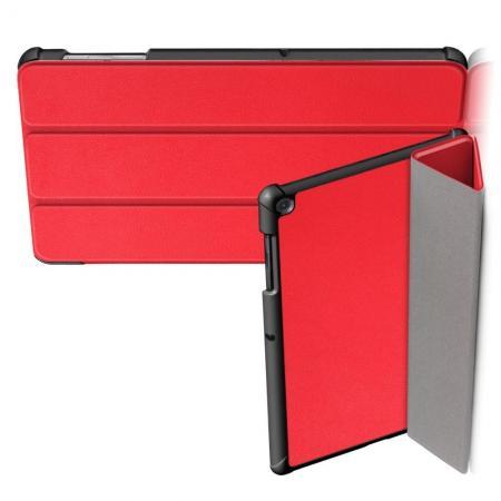 Двухсторонний Чехол Книжка для планшета Samsung Galaxy Tab S5e SM-T720 SM-T725 Искусственно Кожаный с Подставкой Красный