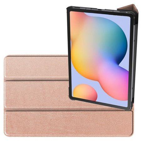 Двухсторонний Чехол Книжка для планшета Samsung Galaxy Tab S6 Lite 10.4 Искусственно Кожаный с Подставкой Розовый