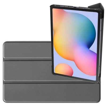 Двухсторонний Чехол Книжка для планшета Samsung Galaxy Tab S6 Lite 10.4 Искусственно Кожаный с Подставкой Серый