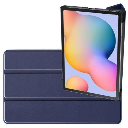 Двухсторонний Чехол Книжка для планшета Samsung Galaxy Tab S6 Lite 10.4 Искусственно Кожаный с Подставкой Синий