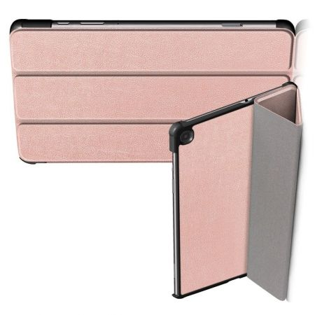 Двухсторонний Чехол Книжка для планшета Samsung Galaxy Tab S6 Lite 10.4 Искусственно Кожаный с Подставкой Светло Розовый