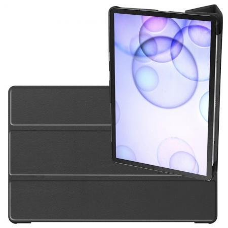 Двухсторонний Чехол Книжка для планшета Samsung Galaxy Tab S6 SM-T865 SM-T860 Искусственно Кожаный с Подставкой Черный