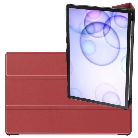 Двухсторонний Чехол Книжка для планшета Samsung Galaxy Tab S6 SM-T865 SM-T860 Искусственно Кожаный с Подставкой Коричневый