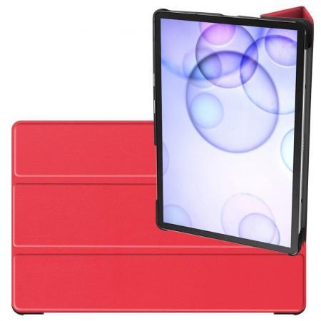 Двухсторонний Чехол Книжка для планшета Samsung Galaxy Tab S6 SM-T865 SM-T860 Искусственно Кожаный с Подставкой Красный