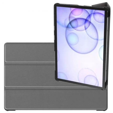 Двухсторонний Чехол Книжка для планшета Samsung Galaxy Tab S6 SM-T865 SM-T860 Искусственно Кожаный с Подставкой Серый