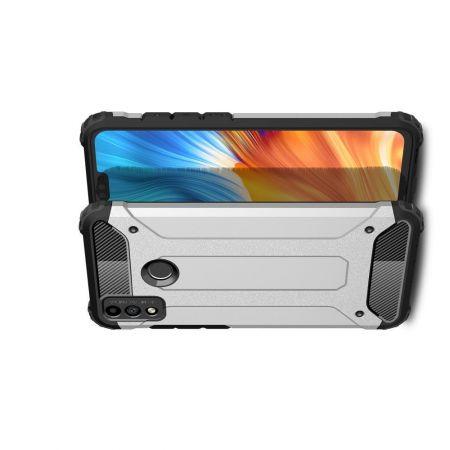Extreme Усиленный Защитный Силиконовый Матовый Чехол для Huawei Honor 9X Lite Серебряный