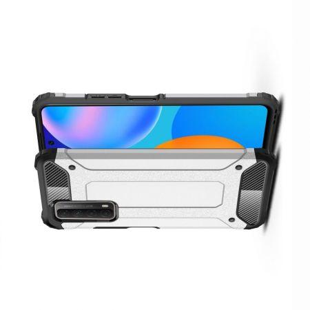 Extreme Усиленный Защитный Силиконовый Матовый Чехол для Huawei P Smart 2021 Серебряный