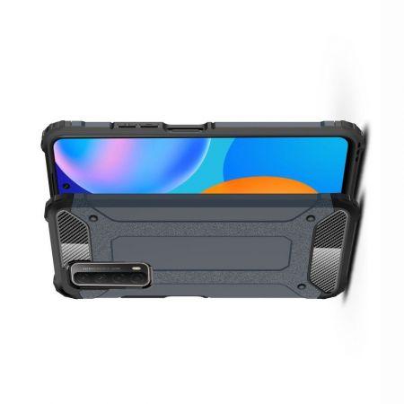 Extreme Усиленный Защитный Силиконовый Матовый Чехол для Huawei P Smart 2021 Синий