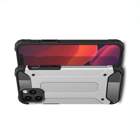 Extreme Усиленный Защитный Силиконовый Матовый Чехол для iPhone 12 / 12 Pro Серебряный