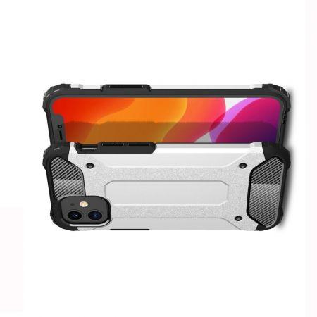 Extreme Усиленный Защитный Силиконовый Матовый Чехол для iPhone 12 mini Серебряный