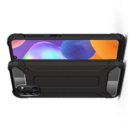 Extreme Усиленный Защитный Силиконовый Матовый Чехол для Samsung Galaxy A31 Черный