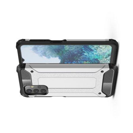 Extreme Усиленный Защитный Силиконовый Матовый Чехол для Samsung Galaxy A32 Серебряный