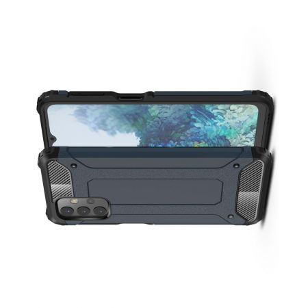 Extreme Усиленный Защитный Силиконовый Матовый Чехол для Samsung Galaxy A32 Синий