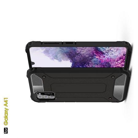 Extreme Усиленный Защитный Силиконовый Матовый Чехол для Samsung Galaxy A41 Черный