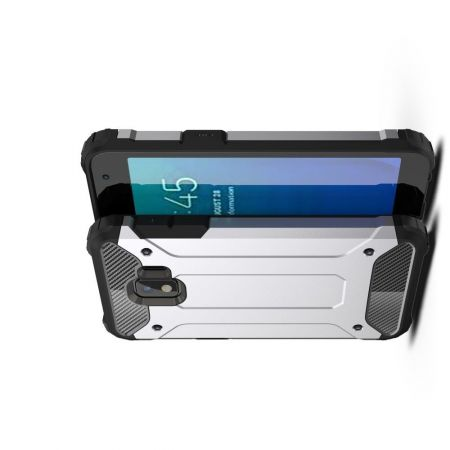 Extreme Усиленный Защитный Силиконовый Матовый Чехол для Samsung Galaxy J2 Core (2020) Серебряный