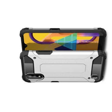 Extreme Усиленный Защитный Силиконовый Матовый Чехол для Samsung Galaxy M01 Серебряный