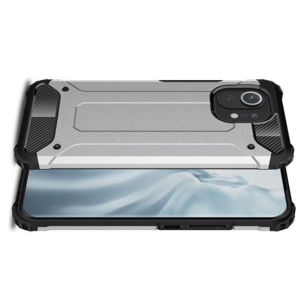 Extreme Усиленный Защитный Силиконовый Матовый Чехол для Xiaomi Mi 11 Серебряный