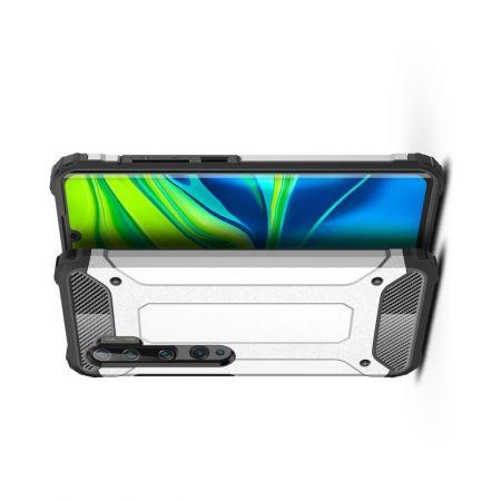 Extreme Усиленный Защитный Силиконовый Матовый Чехол для Xiaomi Mi Note 10 Lite Серебряный