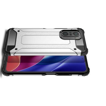 Extreme Усиленный Защитный Силиконовый Матовый Чехол для Xiaomi POCO F3 Серебряный