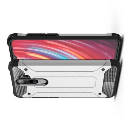 Extreme Усиленный Защитный Силиконовый Матовый Чехол для Xiaomi Redmi Note 8 Pro Серебряный