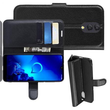 Флип чехол книжка с кошельком подставкой отделениями для карт и магнитной застежкой для Alcatel 3L 2019 5039D Черный