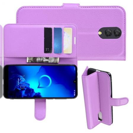 Флип чехол книжка с кошельком подставкой отделениями для карт и магнитной застежкой для Alcatel 3L 2019 5039D Фиолетовый
