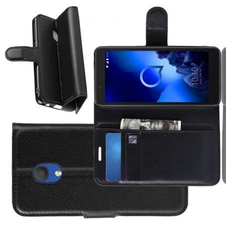 Флип чехол книжка с кошельком подставкой отделениями для карт и магнитной застежкой для Alcatel 1C 2019 Черный