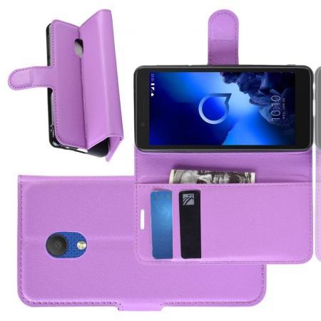 Флип чехол книжка с кошельком подставкой отделениями для карт и магнитной застежкой для Alcatel 1C 2019 Фиолетовый