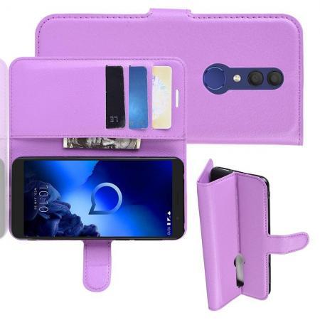 Флип чехол книжка с кошельком подставкой отделениями для карт и магнитной застежкой для Alcatel 1X 2019 5008Y Фиолетовый