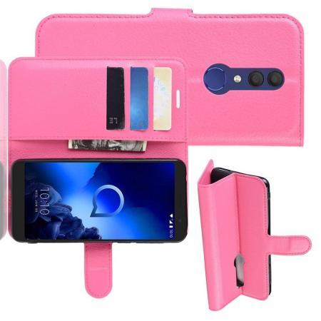 Флип чехол книжка с кошельком подставкой отделениями для карт и магнитной застежкой для Alcatel 1X 2019 5008Y Розовый