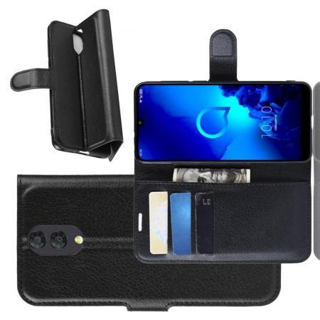Флип чехол книжка с кошельком подставкой отделениями для карт и магнитной застежкой для Alcatel 3 2019 5053Y Черный