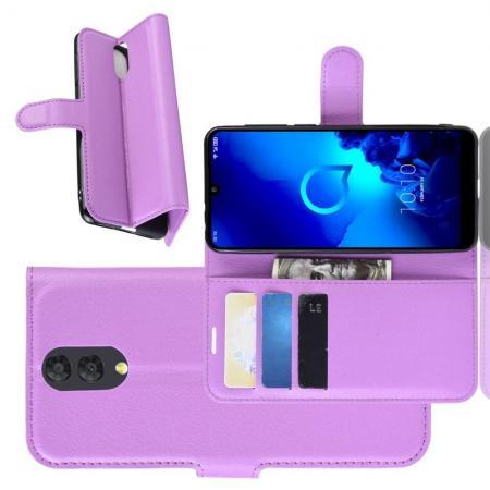 Флип чехол книжка с кошельком подставкой отделениями для карт и магнитной застежкой для Alcatel 3 2019 5053Y Фиолетовый