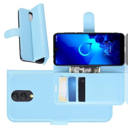 Флип чехол книжка с кошельком подставкой отделениями для карт и магнитной застежкой для Alcatel 3 2019 5053Y Голубой