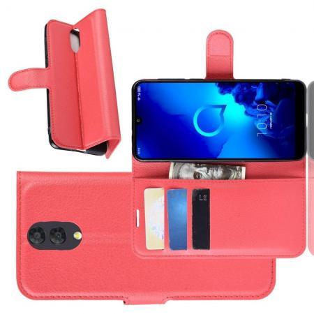 Флип чехол книжка с кошельком подставкой отделениями для карт и магнитной застежкой для Alcatel 3 2019 5053Y Красный