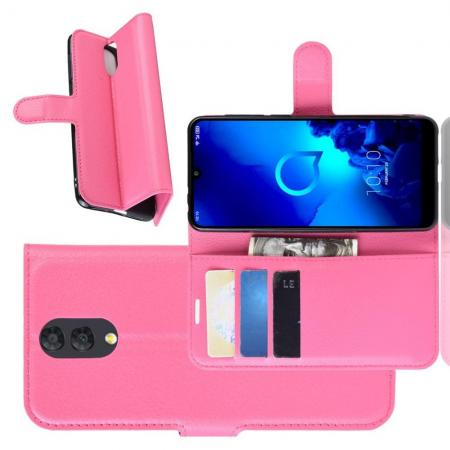 Флип чехол книжка с кошельком подставкой отделениями для карт и магнитной застежкой для Alcatel 3 2019 5053Y Розовый