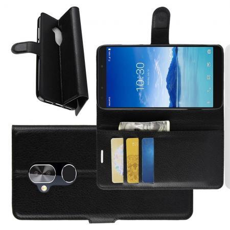 Флип чехол книжка с кошельком подставкой отделениями для карт и магнитной застежкой для Alcatel 7 Черный