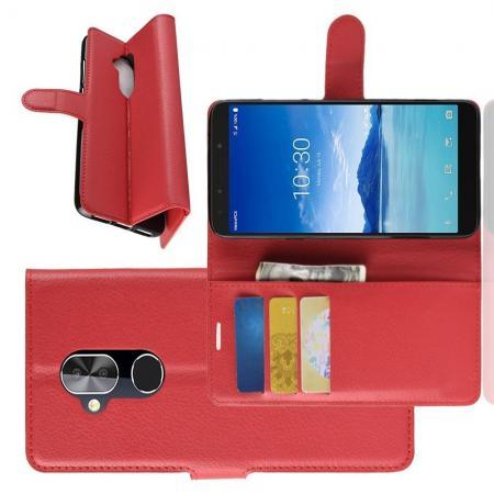 Флип чехол книжка с кошельком подставкой отделениями для карт и магнитной застежкой для Alcatel 7 Красный