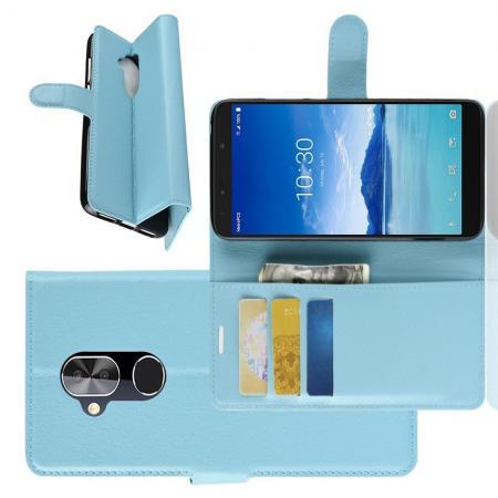 Флип чехол книжка с кошельком подставкой отделениями для карт и магнитной застежкой для Alcatel 7 Голубой