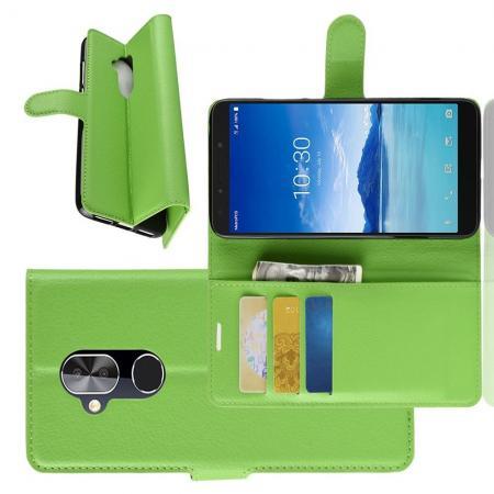 Флип чехол книжка с кошельком подставкой отделениями для карт и магнитной застежкой для Alcatel 7 Зеленый