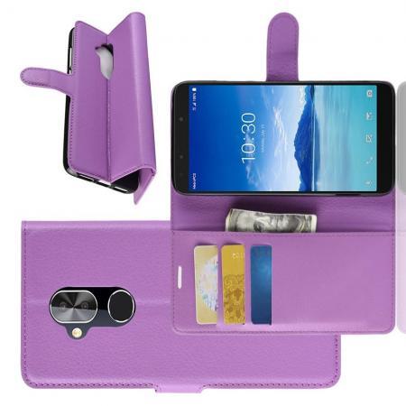Флип чехол книжка с кошельком подставкой отделениями для карт и магнитной застежкой для Alcatel 7 Фиолетовый