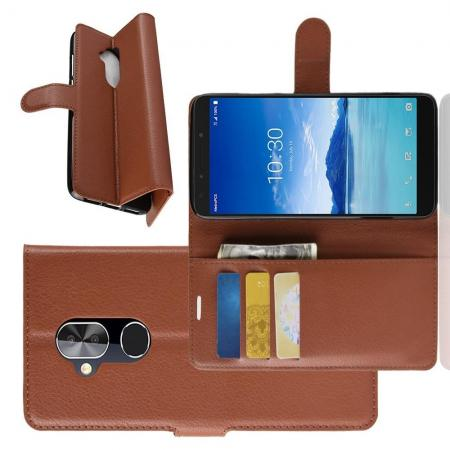 Флип чехол книжка с кошельком подставкой отделениями для карт и магнитной застежкой для Alcatel 7 Коричневый