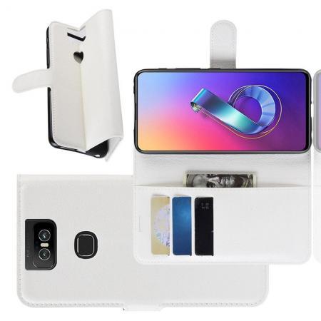 Флип чехол книжка с кошельком подставкой отделениями для карт и магнитной застежкой для Asus Zenfone 6 ZS630KL Белый
