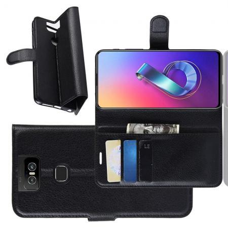 Флип чехол книжка с кошельком подставкой отделениями для карт и магнитной застежкой для Asus Zenfone 6 ZS630KL Черный