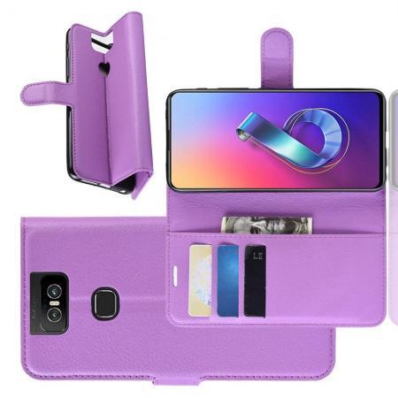 Флип чехол книжка с кошельком подставкой отделениями для карт и магнитной застежкой для Asus Zenfone 6 ZS630KL Фиолетовый