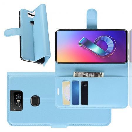Флип чехол книжка с кошельком подставкой отделениями для карт и магнитной застежкой для Asus Zenfone 6 ZS630KL Голубой