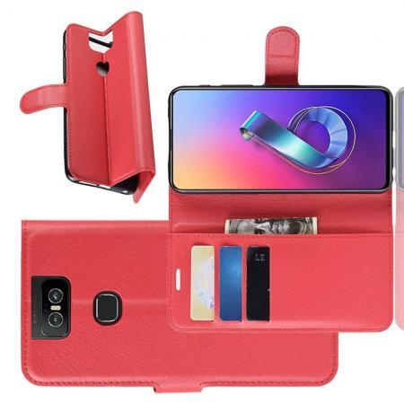 Флип чехол книжка с кошельком подставкой отделениями для карт и магнитной застежкой для Asus Zenfone 6 ZS630KL Красный