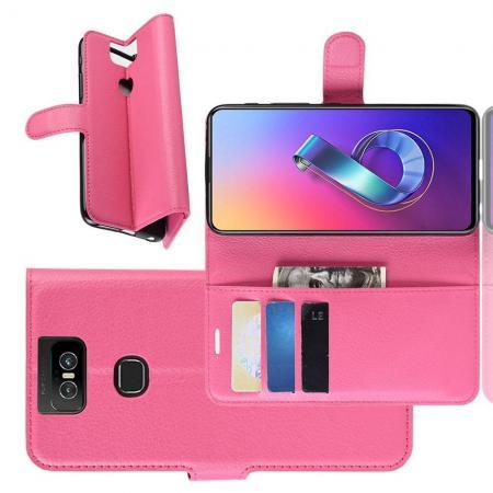 Флип чехол книжка с кошельком подставкой отделениями для карт и магнитной застежкой для Asus Zenfone 6 ZS630KL Розовый