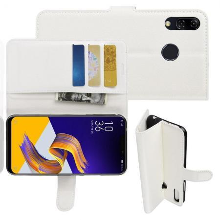 Флип чехол книжка с кошельком подставкой отделениями для карт и магнитной застежкой для Asus Zenfone Max M2 ZB633KL Белый